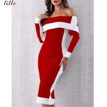 Plus size Slash neck red and white striped black office women dress autumn fashion elegant temperament sexy