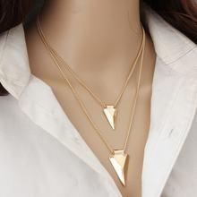 Цепочка с двухслойной подвеской женская длинная цепочка золотого