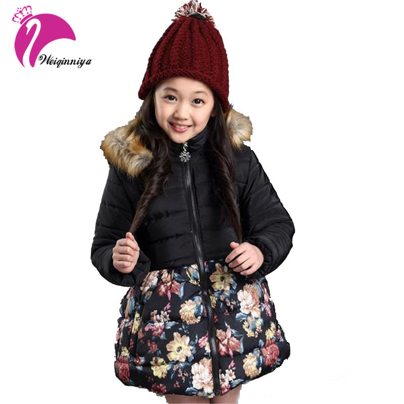 Girls Winter Coat New 2016 Brand Plus Thick Velvet Floral Padded-Cotton Fashion Fur Collar Hooded Long Jacket Children Clothing new korean version winter children s clothing baby girls thick fur collar hooded coat fashion casual children cotton warm coat