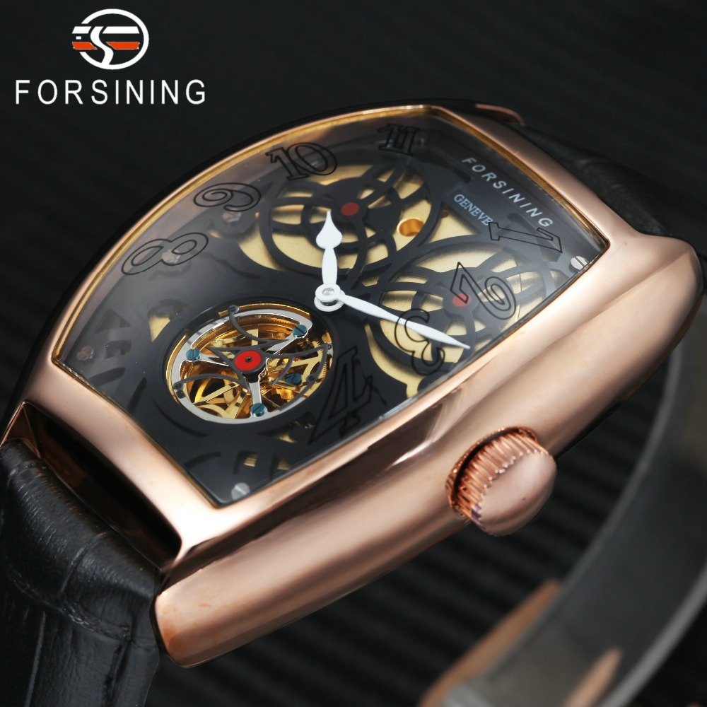FORSINING Men Auto Mechanical Watch Genuine Leather Strap Skeleton Dial Tonneau Design Waterproof Top Brand Luxury Wristwatch forsining men s watch vogue skeleton mechanical leather analog classic wristwatch color silver fsg8090m3