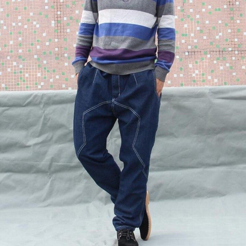 Мода Хип-хоп мужчин карандаш гарем Хлопковые джинсы темно-синий низкий шаговый шов молния Fly Брюки Большие размеры узкие Джеггинсы 29-42 ...