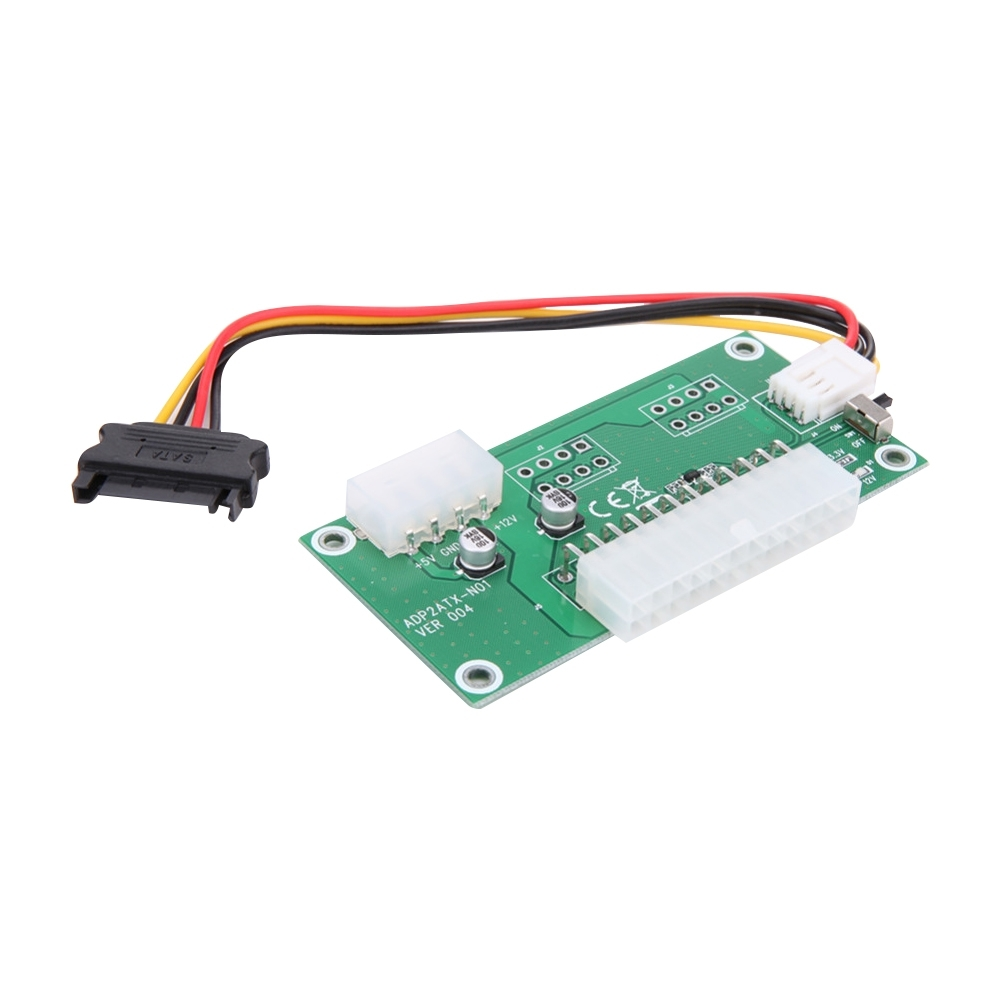 PC Desktop ATX 24-Pin Dual <font><b>PSU</b></font> Power Synchronous Start Card Adapter with SATA <font><b>Extender</b></font> <font><b>Cable</b></font> & Manual Switch image