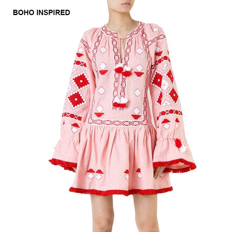 L ukraine Linge Glands Robes Boho 2018 Manches Hippie Brodé Inspiré Robe  Évasée Longues Chic Rose ... 407c8e660e8
