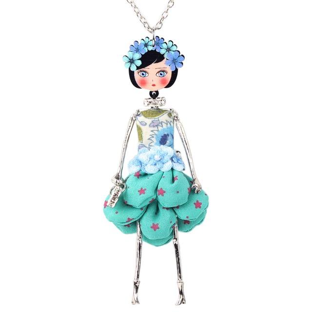 Bonsny Statement Flower Doll Necklace Dress Handmade French Doll Pendant 2016 News Alloy Girl Women Flower Fashion Jewelry