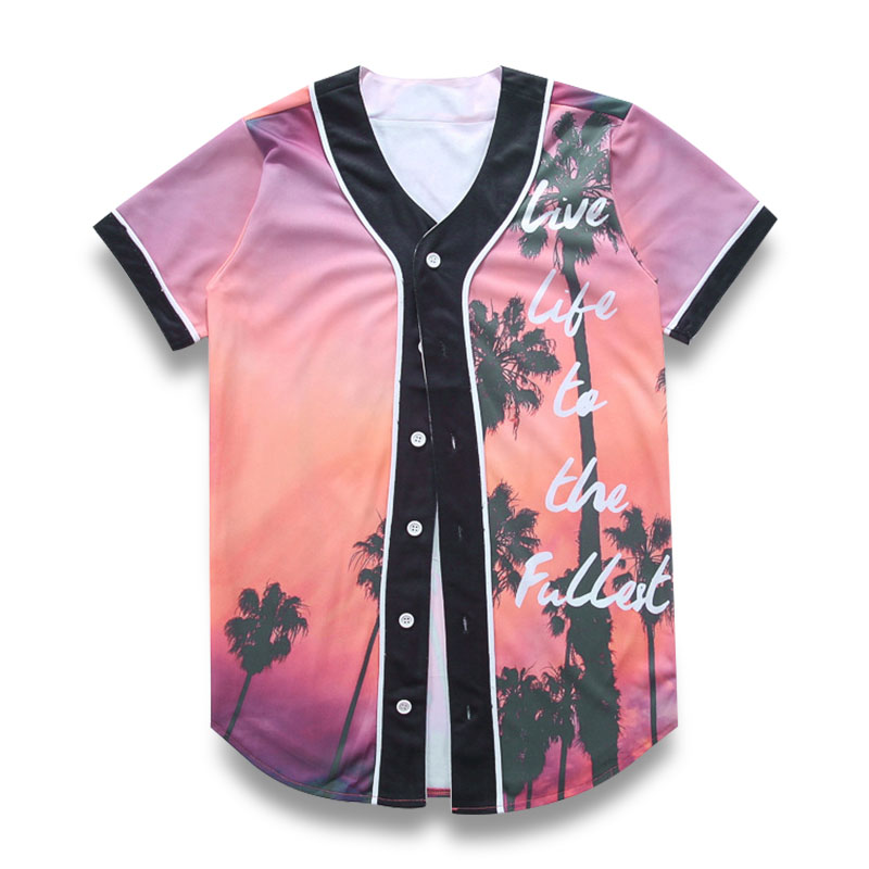 5d992b5674 3D T Shirt Men Short Sleeve V neck Baseball Jersey Fashion Sunset Coconut  Tree Letters Print T Shirt Cardigan Funny Tee Tshirt-in T-Shirts from Men's  ...