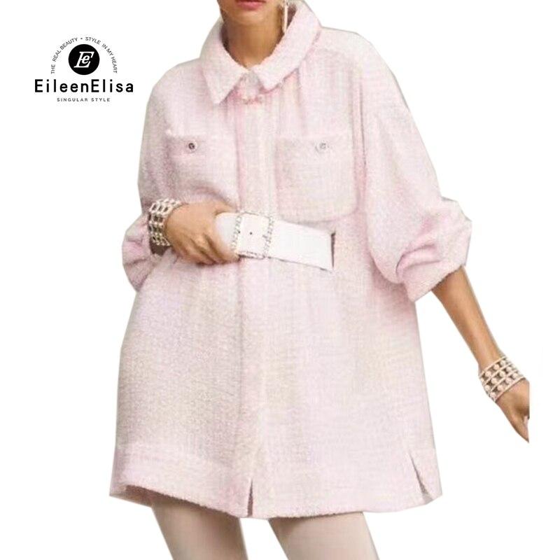 Élégant Qualité Turn Collar Avec Rose Ceintures De down Femmes Haute Des Tweed 2019 Robe Robes Printemps 5U1q6Pxwa