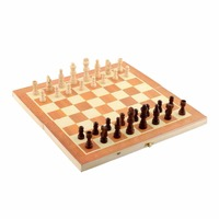 New Arrival Quality Classic Wooden Chess Set Board Game 34cm X 34cm Foldable Portable Kids Gift