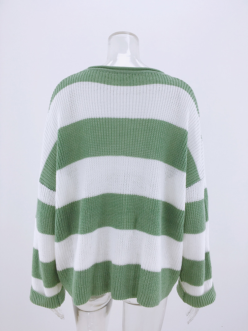 Fitshinling Striped Loose Ladies Sweater Pullover 19 Autumn Winter New Arrival Green Jumpers Knit Sweaters Women Pull Femme 13