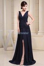 free shipping fashion 2013 zuhair murad dresses new design v-neck strap custom size/color chiffon cheap black long evening dress