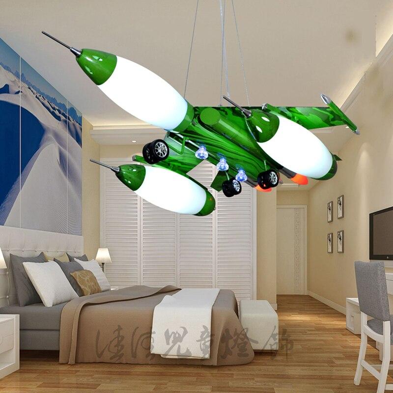 Us 1980 Samolot Myśliwski Wisiorek Led światło Cartoon Oświetlenie Pokoju Dziecka U Nas Państwo Lampy Prawdziwe Lampy Wiszące Zielony Niebieski