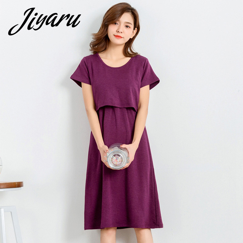 Summer Short Sleeves Nursing Clothes for Maternity Women Pregnant Breastfeeding Nightgro ...