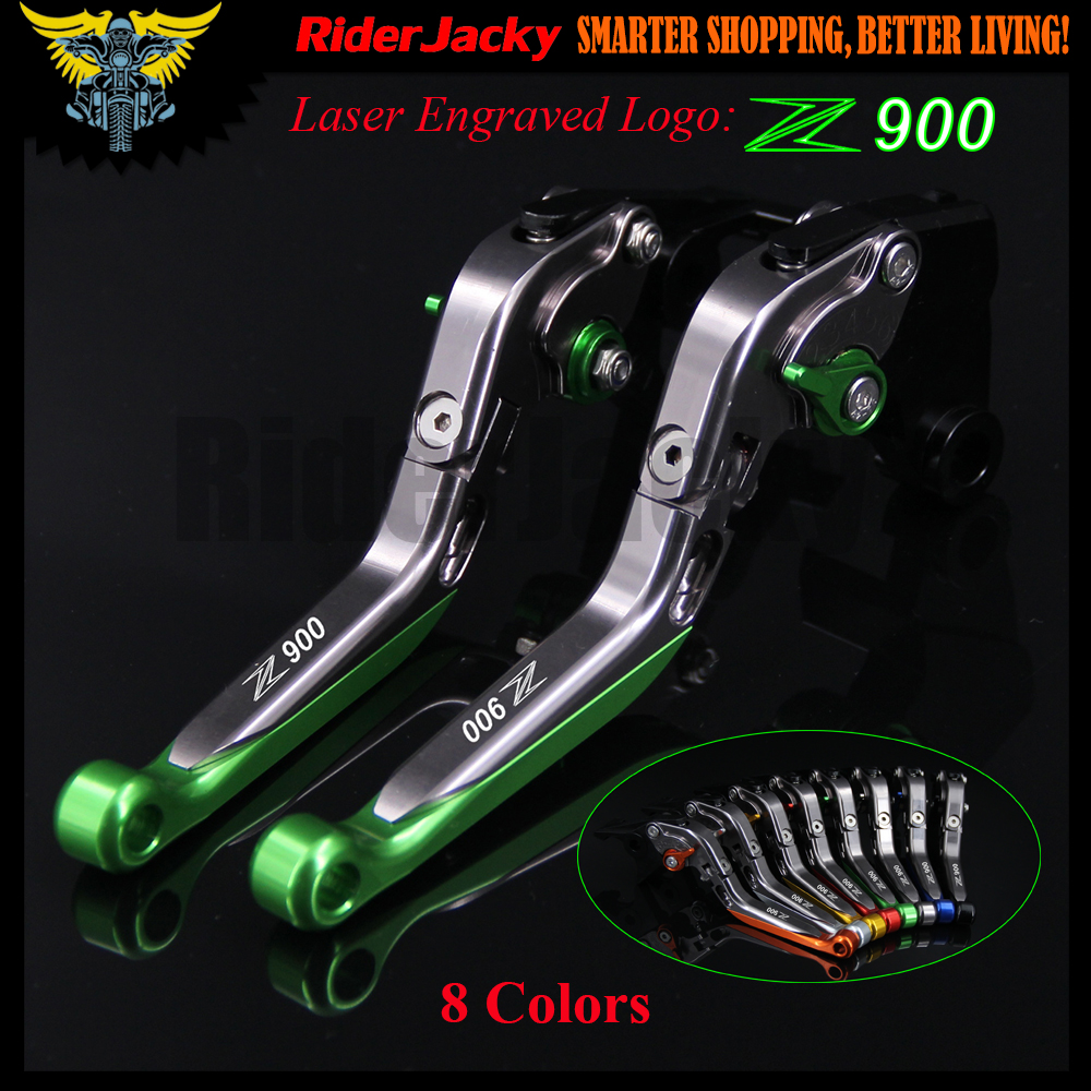 !Logo(Z900) Green+Titanium For Kawasaki Z900 Z 900 2017 CNC Adjustable Folding Extendable Motorcycle Brake Clutch Levers