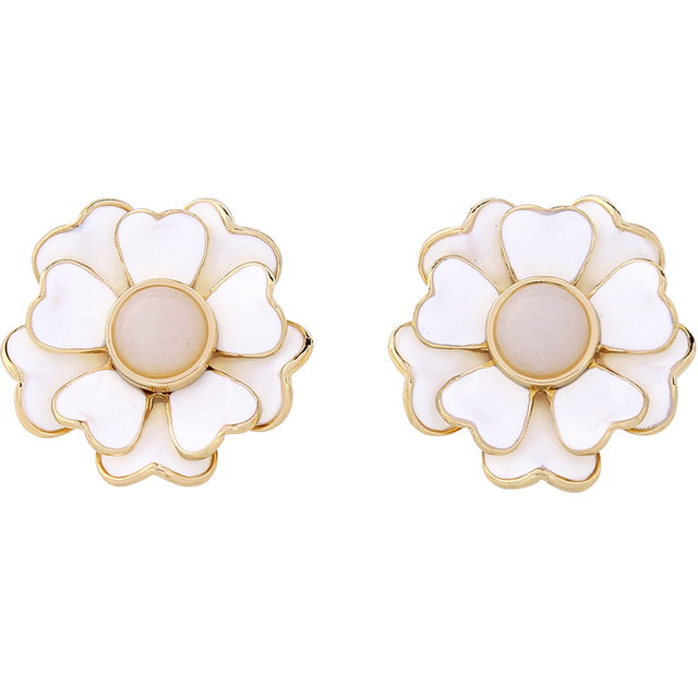 White Enamel Flower Earrings Online Ping India Fashion Piercing Wedding Stud Brincos