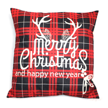 Christmas Linen Printed cushion cover Home Decorative pillow cover Living Room Cute Letter Pillow Case waist throw
