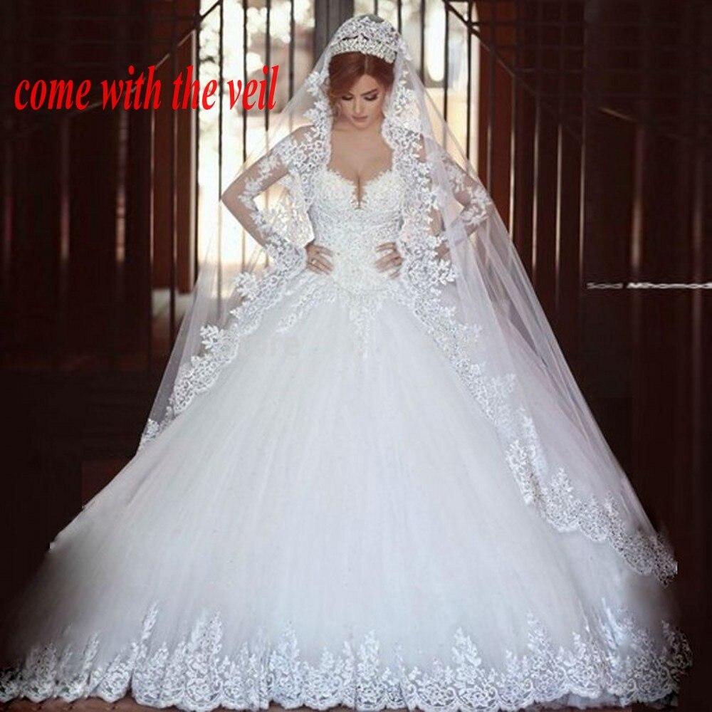 Long Sleeves Appliques Arab Muslim Bridal Gown Vestido De Noiva Princesa Brides  Veil Robe De Mariee Mother Of The Bride Dresses