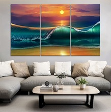 Art Sunset Beach Sea Waves Painting 3 Piece Modular Style Picture Canvas Printing Type Wall Artwork Modern Home Decor Poster modern decor wall artwork natural landscape picture 1 piece sea coast tropical paradise beach ocean island boat canvas poster