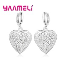 Top Rated 925 Sterling Silver Heart Charms Women Earrings Stylish Rose Carving with Smooth Lever Back Earwires Drop Ear Jewelry(China)