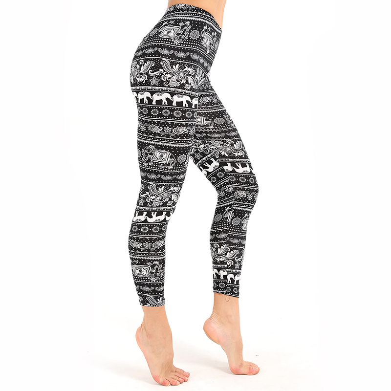 Super Soft Women Elephant Print   Leggings   Brushed High Elastic Slim Skinny Leggin Spring Autumn Women Casual Leggins Pant
