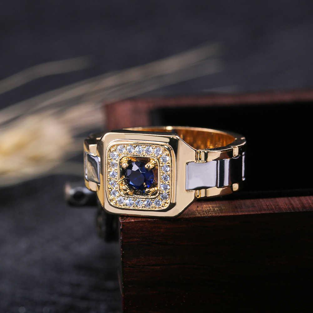 Huitan festa anéis masculinos relógio criativo em forma de dois tons design anéis para homens anel de casamento com tamanho 6-14 jóias masculinas atacado