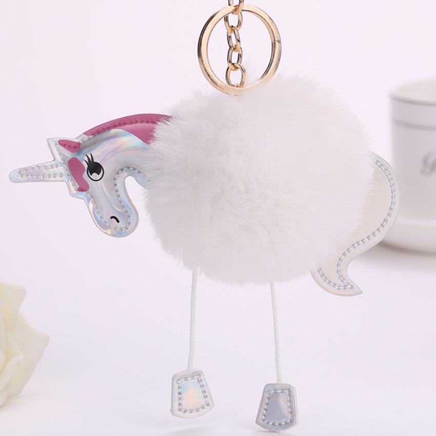 Nordic Fluffy Unicorn Keychain Faux Rabbit Fur Ball Pom Pom Ženy Děti Bag Zavěšení Dekorace Řemesla Kreslený Závěsné Míče
