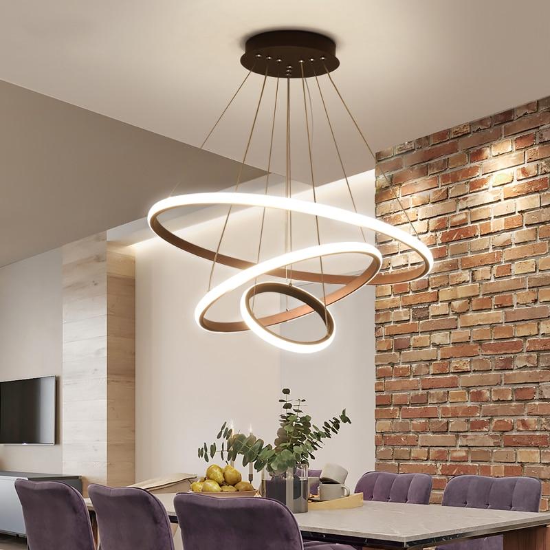 Black White Coffee Color Modern led pendant lights for living room dining room Circle Rings aluminum