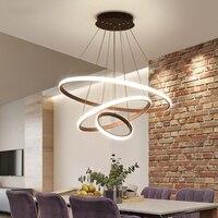 블랙/화이트/커피 컬러 현대 led 펜 던 트 조명 거실 다이닝 룸 서클 링 알루미늄 펜 던 트 램프 비품