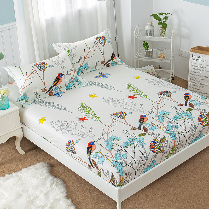 New Floral Bird Print Fitted Sheet <font><b>with</b></font> Elastic 100% Cotton Fitted <font><b>Bed</b></font> Sheet Twin Full Queen Size Mattress Cover Protector