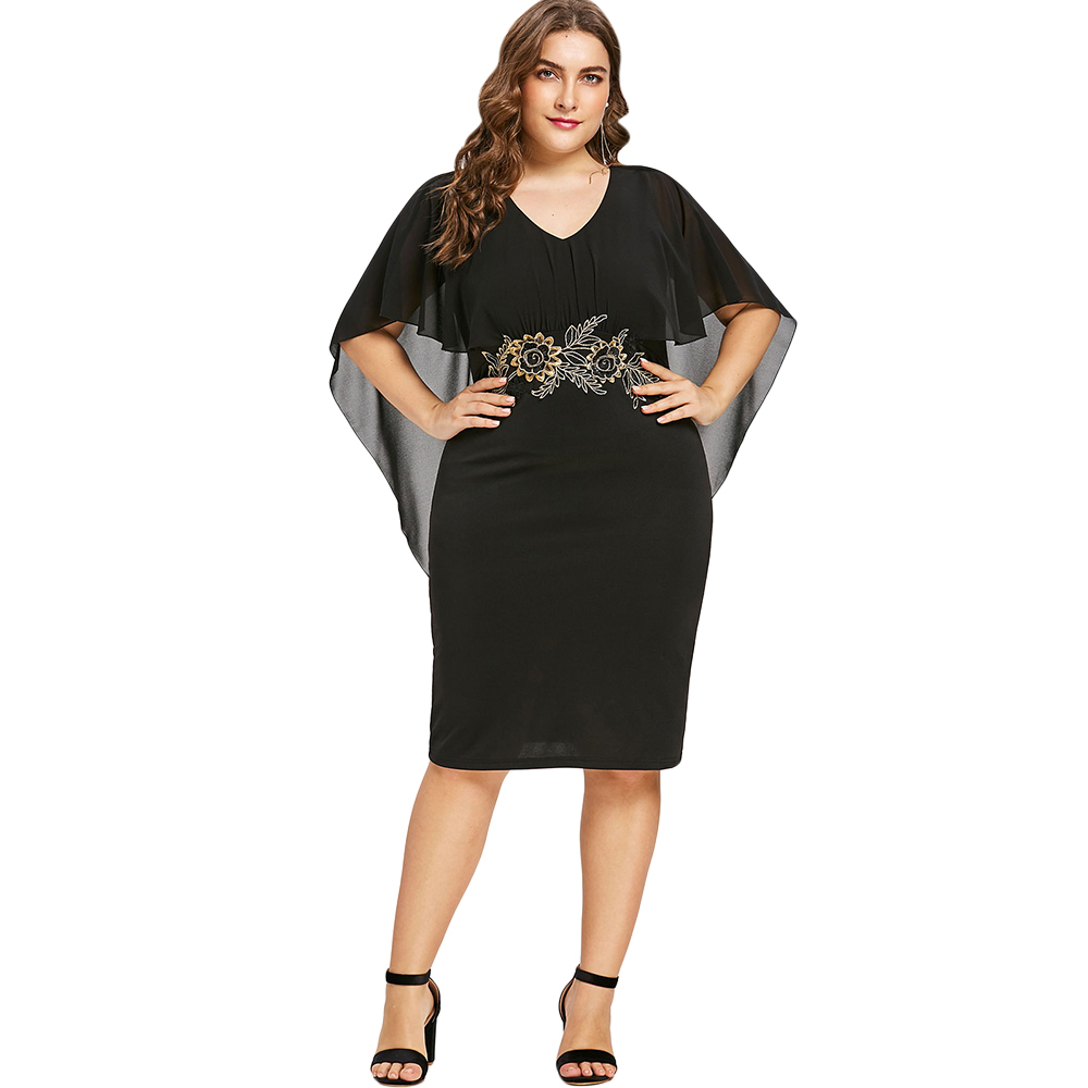 3777d42f8f9 Dropwow Gamiss Women Fashions Plus Size 5XL Embroidery Capelet Semi ...