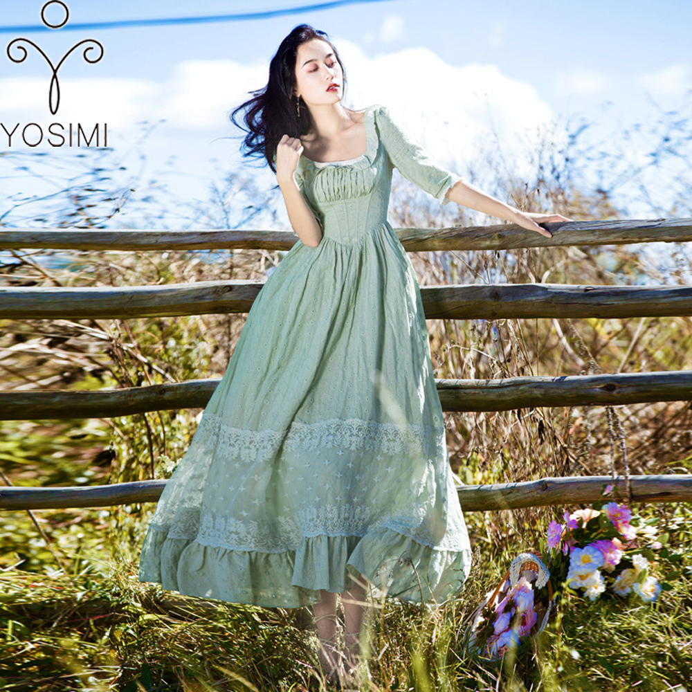 YOSIMI 2018 Summer Vintage Cotton and Lace Long Women Dress Tunic Prairie Chic Style Green Women Dress Mid-calf Evening Party