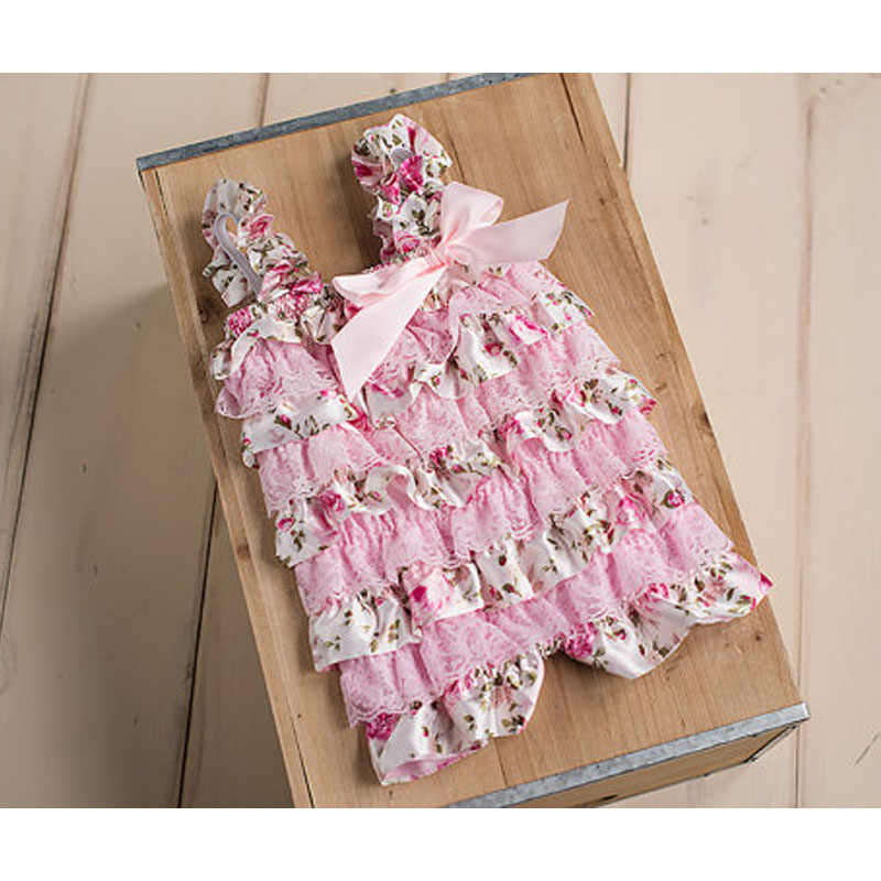 2dc8b6a85f47 Baby Girls Rompers Pink Floral Petti Ruffle Lace Romper 1st Birthday Cake  Smash Outfit Toddler Infant Jumpsuit