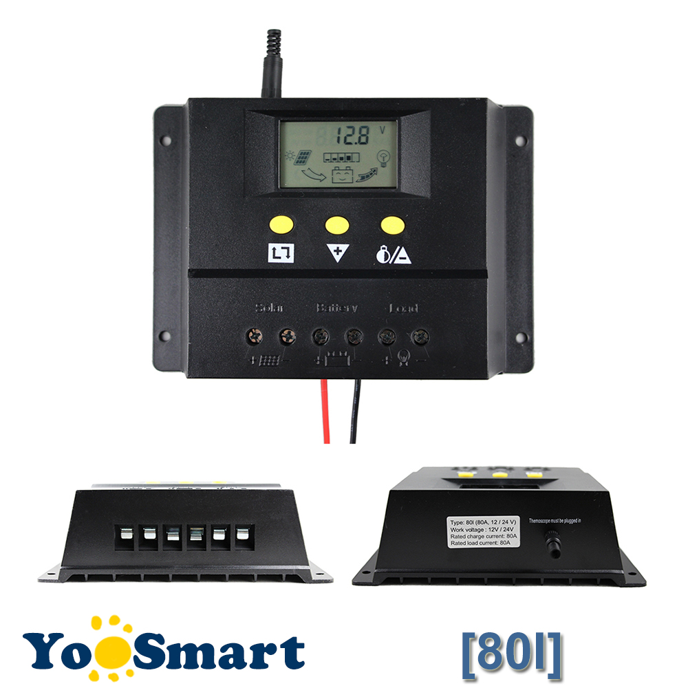 80A Solar Charge Controller 12V 24V 1000W 2000W Solar Panel LCD Screen Display PWM Charging for