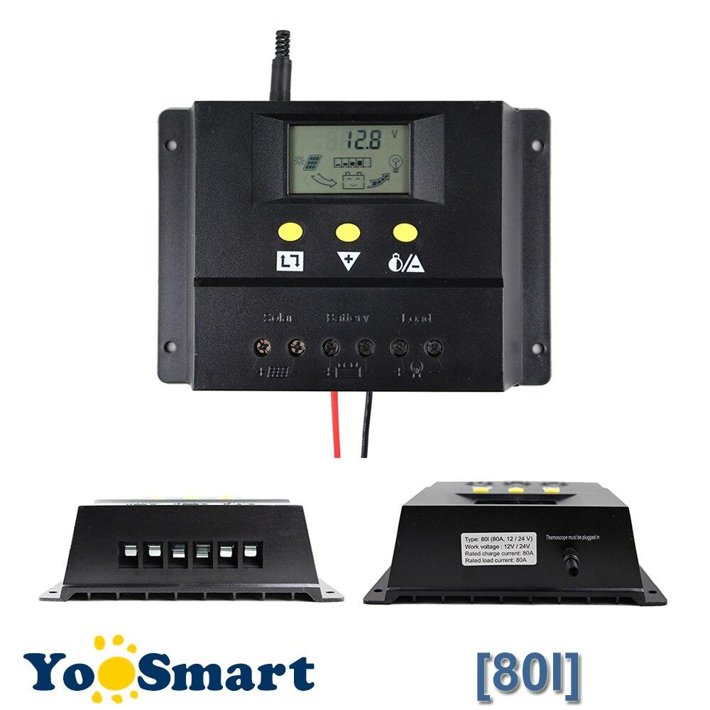 80A Контроллер заряда 12 В 24 В 1000 Вт 2000 Вт Панели солнечные ЖК-дисплей Экран Дисплей ШИМ зарядки для Off ФЭ контроллер Солнечный