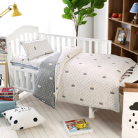 100% cottotton 3pcs/set baby Bedding set pillow case+bed sheet+duvet cover without filling Crown zebra animal cartoon pattern