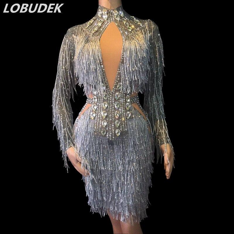 Bling strass argent glands robe Sexy Skinny verre diamant robe courte femmes chanteur partie scène porter des robes de célébration