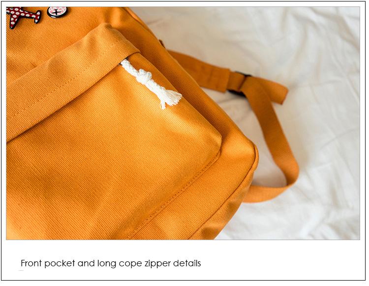 Menghuo 5 Pcsset Women Backpacks Cute Plane Badge School Bags For Teenage Girls Simple Canvas Backpacks Ladies Shoulder Bags (34)