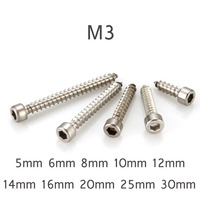 500pcs Round Head Hexagon Hex Socket Cap Self tapping Screw M3 Self Tapping Screw 304 Stainless Steel