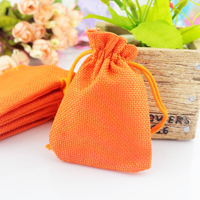 7x9cm 50pcs/lot Orange Color Linen Gift Packaging Bags Drawstring Jewelry Beads Pouches Accept Custom Logo Printing