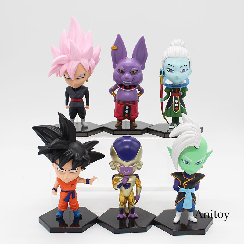 6pcs/set Dragon Ball Z Goku Freeza Beerus Whis Shin God Goku PVC Action Figure Collectible Model Toy 11-15cm KT3776 shfiguarts dragon ball z vegeta pvc action figure collectible model toy 6 5 16cm