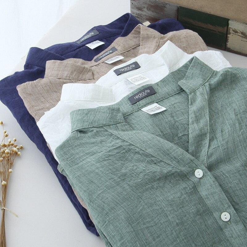 2019 Cotton And Linen Shirt Women's Summer Sun Thin Linen Shirt Literary Retro 7 Sleeve Cardigan Women's Collar White Shirt