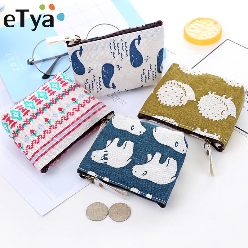ETya, новинка, женский, детский холщовый Кошелек для монет, Цветочный, клетчатый, на молнии, маленький кошелек, детский, женский, для ключей, держатель для карт, мини, сумка для денег, подарок