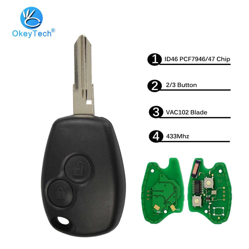 OkeyTech 2/3 Кнопка 433 МГц ID46 PCF7946 чип 206 NE72 лезвия для Renault Duster Modus Clio Logan Sandero Trafic Kangoo express