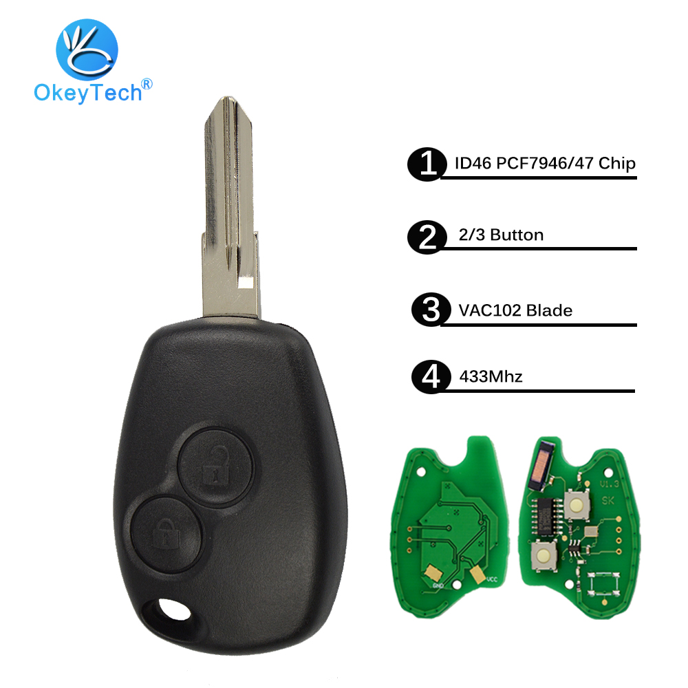 OkeyTech 2/3 Botão 433 mhz ID46 PCF7946 Chip 206 NE72 Lâmina para Renault Duster Logan Sandero Modus Clio Kangoo Trafic expressar