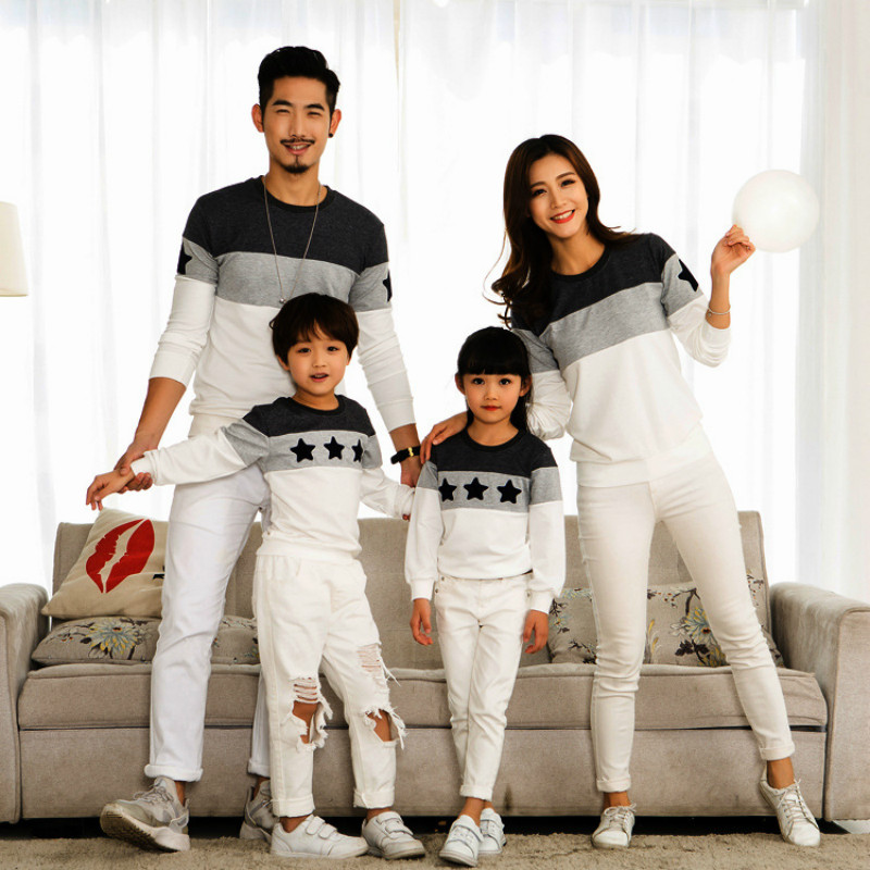 2018 Ins Sizzling Star Pullover Cotton Sweatershirt Household Look Garments Mom and Daughter Household Matching Outfits Dad Son QZ041 dad son, household matching, household matching outfits,Low-cost dad son,Excessive High...