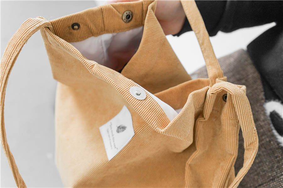 Mara's Dream High Capacity Women Corduroy Tote Ladies Casual Solid Color Shoulder Bag Foldable Reusable Women Shopping Beach Bag 19