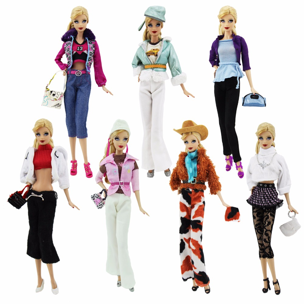 1x Handmade Fashion Outfits Casual Daily Wear Travel Dress Up Blouse Trousers Hat Bag Shoes Clothes For Barbie Doll Accessories high quality 3 pcs mens outfits daily casual wear blouse white pants clothes for barbie doll ken prince accessories toys gifts