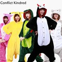 2017 Flannel Animal Stitch Unicorn Panda Bear Koala Pikachu Onesie Adult Unisex Cosplay Costume Pajamas Sleepwear