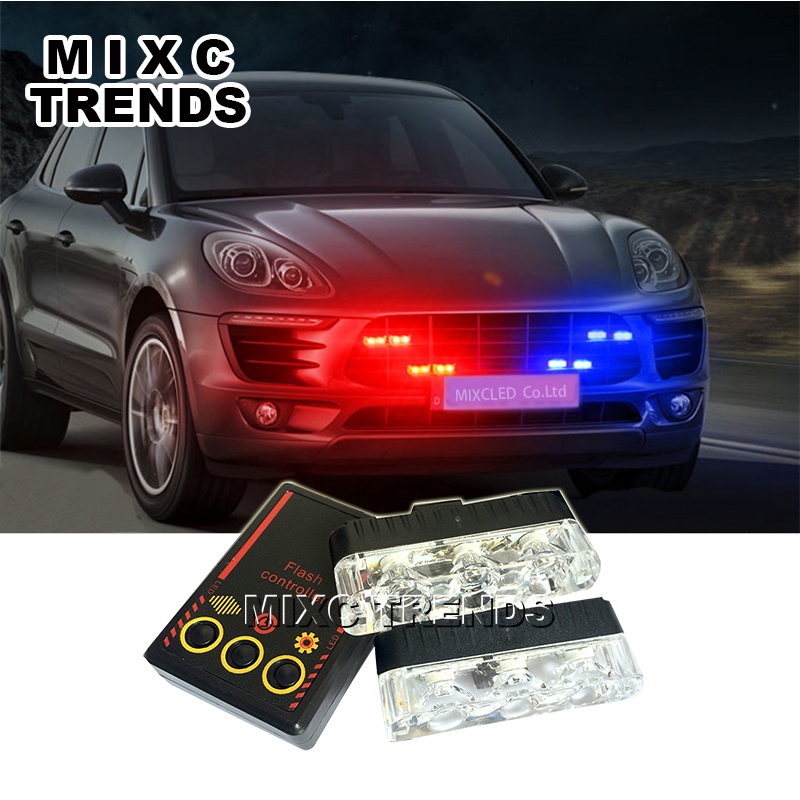 цена на MIXC TRENDS 2x3 led Ambulance Police Strobe light Car Truck DRL Emergency Flashing Firemen DC 12V Auto LED Warning Day light