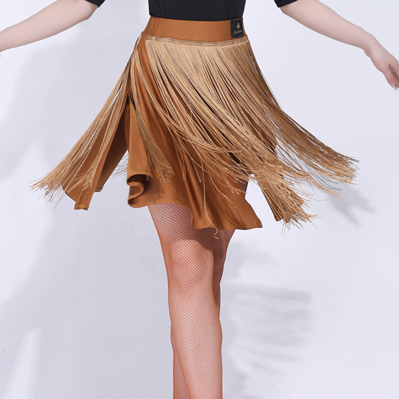 New Latin Dance Skirt For Women/Ladies Brown Skirt Big Size Dance Costumes Tango Flamenco Competition Black Dance Skirt VDB172
