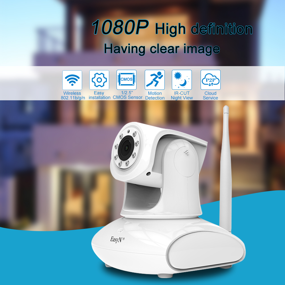 EasyN IP Camera Wi Fi 1080P 2MP CMOS 2 8 8mm PTZ Onvif P2P Wireless WIFI