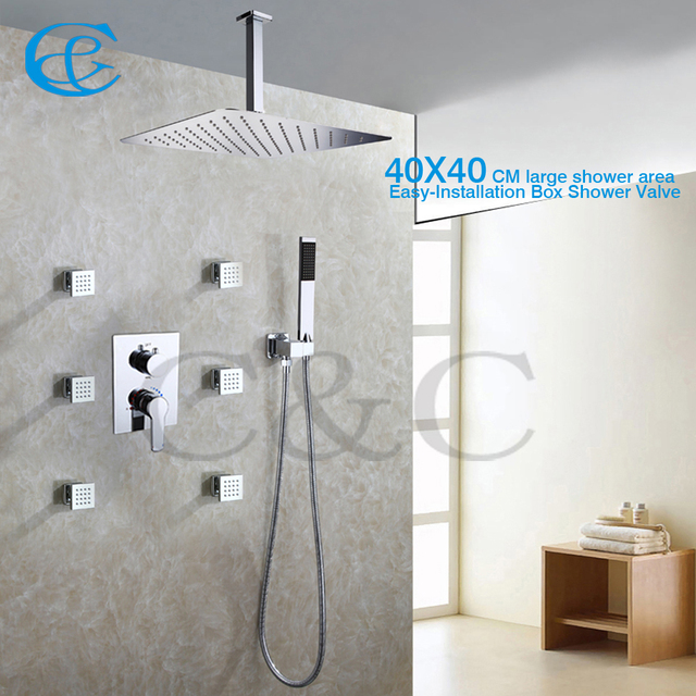 Contemporary Style Bathroom Shower Faucet Set 40x40 Cm Rain Head With Easy Installation Embedded